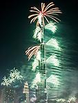 New year celebration with fireworks in Burj Khalifa on January 1,2017 in Dubai, UAE