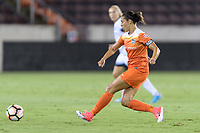 Houston, TX - Saturday July 08, 2017: Carli Lloyd takes a shot at the Portland goal during a regular season National Women's Soccer League (NWSL) match between the Houston Dash and the Portland Thorns FC at BBVA Compass Stadium.