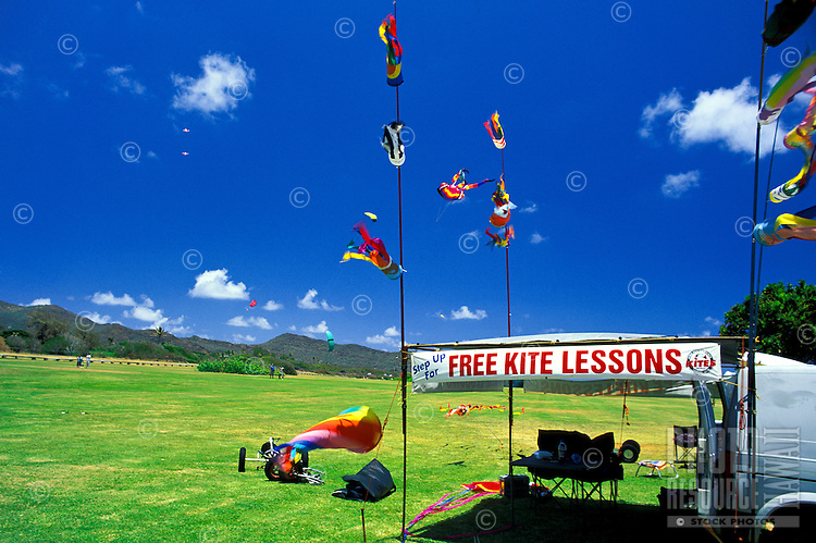 Learn to fly a kite for free. When the wind is right this outdoor activity can bring hours of enjoyment. Many kites to choose from are on display at this location in Sandy Beach Park, oahu.
