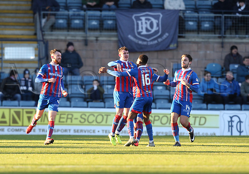 20th January 2018, Dens Park, Dundee, Scotland; Scottish Cup fourth round, Dundee versus Inverness Caledonian Thistle; Inverness Caledonian Thistle's Aaron Doran is congratulated after scoring which made it 1-0
