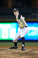 Wake Forest Demon Deacons relief pitcher William Fleming (38) in action against the Charlotte 49ers at BB&T BallPark on March 13, 2018 in Charlotte, North Carolina.  The 49ers defeated the Demon Deacons 13-1.  (Brian Westerholt/Four Seam Images)
