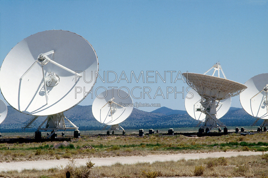 VERY LARGE ARRAY (VLA) -RADIO TELESCOPES<br /> Array of 27 antennas connected electronically to synthesize a single telescope 20 miles in diameter. Radio waves from sky are reflected off telescope surface to a subreflector which reflects the waves to a receiver which amplifies faint waves.
