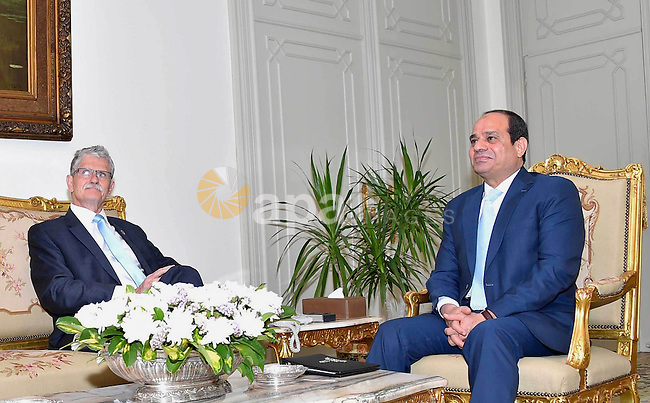 Egyptian President Abdel-Fattah El-Sisi meets Head of the General Assembly of the United Nations, in Cairo, Egypt on May 28, 2016. Photo by Egyptian President Office