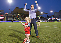 Portland, OR - Saturday May 27, 2017: Mark Parsons during a regular season National Women's Soccer League (NWSL) match between the Portland Thorns FC and the Boston Breakers at Providence Park.