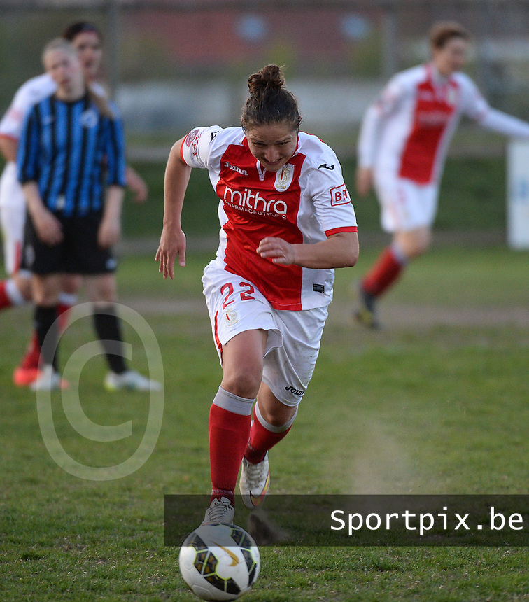 20150428 - VARSENARE , BELGIUM : Standard's Sara Yuceil pictured in action during the soccer match between the women teams of Club Brugge Vrouwen and Standard de Liege Femina , on the 24th matchday of the BeNeleague competition Tuesday 28 th April 2015 in Varsenare . PHOTO DAVID CATRY