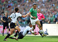 Simon Zebo of Ireland puts in a grubber kick. Rugby World Cup Pool D match between Ireland and Romania on September 27, 2015 at Wembley Stadium in London, England. Photo by: Patrick Khachfe / Onside Images