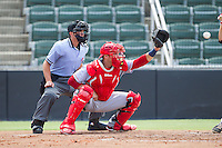 Hagerstown Suns catcher Spencer Kieboom (20) catches a high pitch as home plate umpire Derek Gonzales looks on during the game against the Kannapolis Intimidators at CMC-Northeast Stadium on June 1, 2014 in Kannapolis, North Carolina.  The Intimidators defeated the Suns 5-1 in game one of a double-header.  (Brian Westerholt/Four Seam Images)