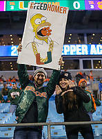 Charlotte, NC - December 2, 2017: Miami Hurricanes fans during the ACC championship game between Miami and Clemson at Bank of America Stadium in Charlotte, NC. Clemson defeated Miami 38-3 for their third consecutive championship title. (Photo by Elliott Brown/Media Images International)