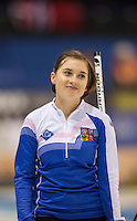 Glasgow. SCOTLAND.  CZE'S,  ice, Alzbete BAUDYSOVA, records a near mis with a smile,  &quot;Round Robin&quot; Games. Le Gruy&egrave;re European Curling Championships. 2016 Venue, Braehead  Scotland<br /> Monday  21/11/2016<br /> <br /> [Mandatory Credit; Peter Spurrier/Intersport-images]