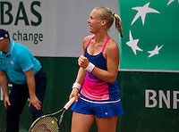 Paris, France, 26 June, 2016, Tennis, Roland Garros,  Kiki Bertens (NED) jubilates after she defeated Italian Giorgi and proceds to the third round<br /> Photo: Henk Koster/tennisimages.com