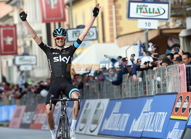 Wouter Poels (NED) Team Sky wins with a solo attack on Stage 4 of the 2015 Tirreno-Adriatico cycle race running 226km from Indicatore to Castelraimondo, Italy. 14th March 2015. <br /> Photo: ANSA/Daniel Dal Zennaro/www.newsfile.ie