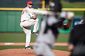 Ball State Cardinals relief pitcher Evan Korson (19) delivers a pitch during a game against the Louisville Cardinals on February 19, 2017 at Spectrum Field in Clearwater, Florida.  Louisville defeated Ball State 10-4.  (Mike Janes/Four Seam Images)