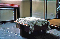 F.L. Wright: Fallingwater. Wright-designed footstool, covered descent to water.  Photo '76.