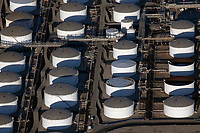 aerial photograph of oil storage tanks, Carson, Los Angeles County, California