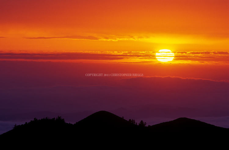 Sunset viewed from San Rafael Mountains, Los Padres National Forest, Santa Barbara County, CA.