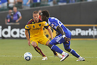 Kei Kamara #23, Chris Wingert...Kansas City Wizards and Real Salt Lake played to a 1-1 tie at Community America Ballpark, Kansas City, Kansas.
