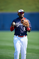 Reading Fightin Phils left fielder Cornelius Randolph (2) warms up before the first game of a doubleheader against the Portland Sea Dogs on May 15, 2018 at FirstEnergy Stadium in Reading, Pennsylvania.  Portland defeated Reading 8-4.  (Mike Janes/Four Seam Images)