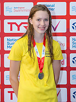Picture by Allan McKenzie/SWpix.com - 05/08/2017 - Swimming - Swim England National Summer Meet 2017 - Ponds Forge International Sports Centre, Sheffield, England - Amelia Moule takes silver in the womens 14yrs 100m backstroke.
