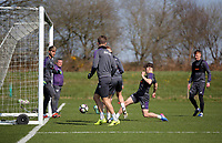 Pictured: Daniel James (2nd R) scores a goal Friday 24 March 2017<br /> Re: Swansea City U23 training ahead of their International Cup game against Porto, Fairwood training ground, UK