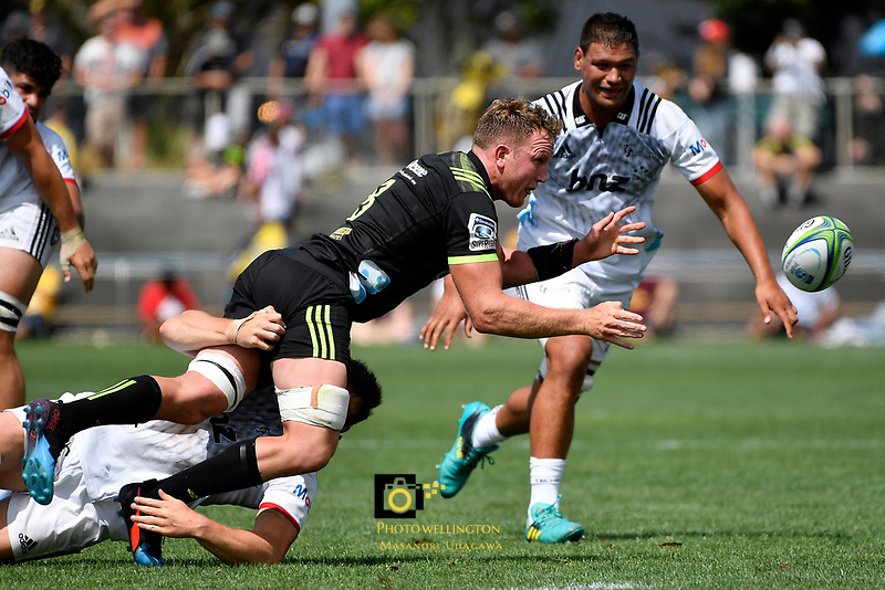 Hurricanes' Gareth Evans in action during the Super Rugby Preseason - Hurricanes v Crusaders at Levin Domain, Levin, New Zealand on Saturday 2 February 2019. <br /> Photo by Masanori Udagawa. <br /> www.photowellington.photoshelter.com