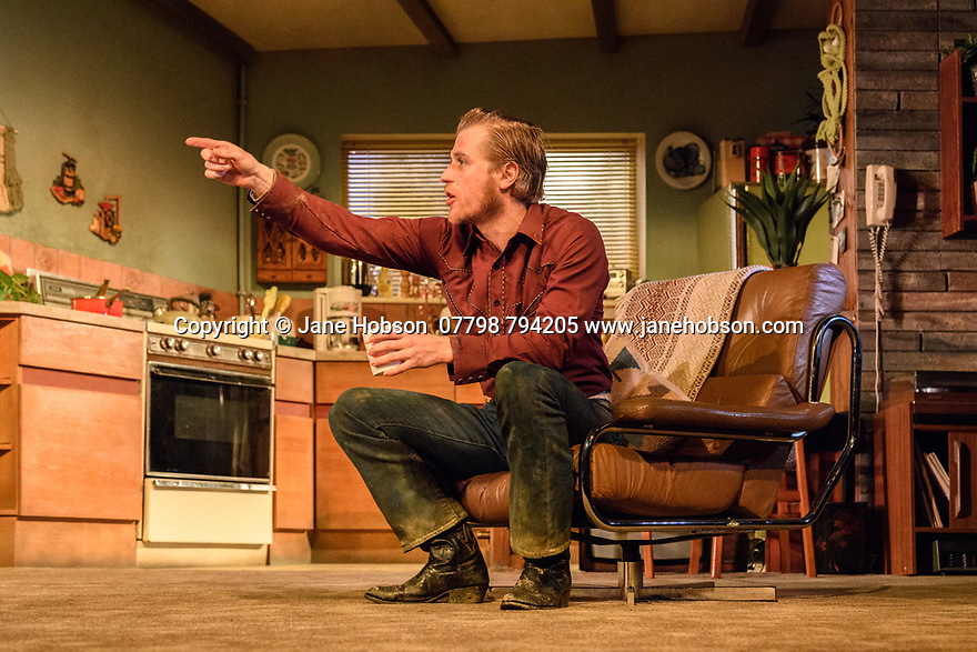 "London, UK. 29.11.2018. The first UK production, since the death of playwright Sam Shepard's play ""True West"", opens at the Vaudeville Theatre, directed by Matthew Dunster. Kit Harington and Johnny Flynn star, as brothers Austin and Lee, with Madeleine Potter and Donald Sage Mackay completing the cast. Picture shows: Johnny Flynn (Lee). Photograph © Jane Hobson."