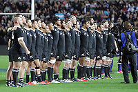 The All Blacks line up for the National Anthem before the 2013 Rugby Championship - All Blacks v Argentina at Waikato Stadium, Hamilton, New Zealand on Saturday, 7th September   2013. Copyright Dion Mellow Photography. Credit DMP / Dion Mellow