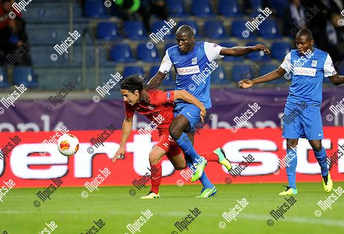 2013-10-03 / Voetbal / seizoen 2013-2014 / UEFA EUROPA LEAGUE / KRC Genk - FC Thun / Nelson Ferreira (l. Thun) with Koukibaly<br /><br />Foto: Mpics.be