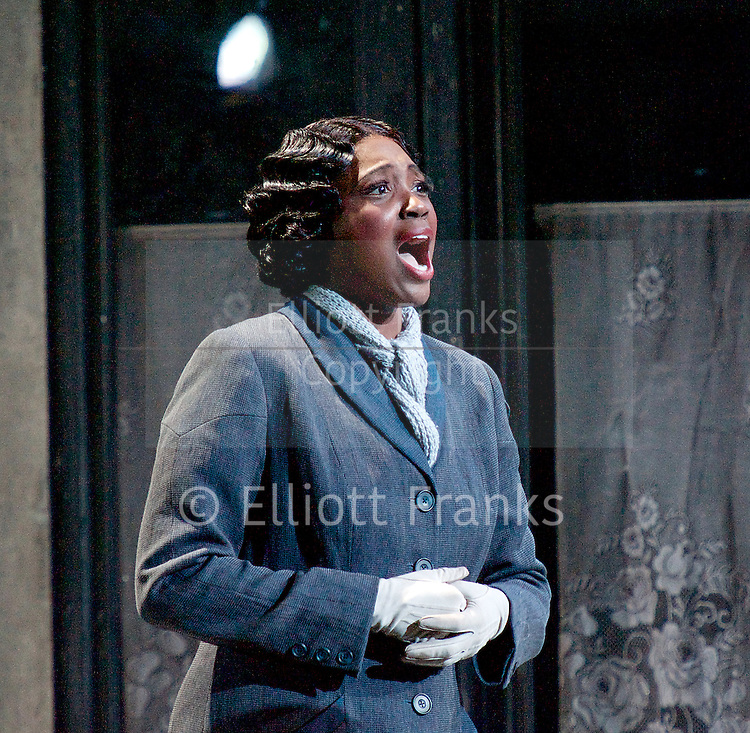 La Boheme<br /> by Giacomo Puccini <br /> translation by Amanda Holden <br /> conductor Gianluca Marciano<br /> directed by Jonathan Miller<br /> revival director Natascha Metherell<br /> <br /> at the London Coliseum, London, Great Britain <br /> rehearsal <br /> 27th October 2014 <br /> <br /> Angel Blue as Mimi <br /> <br /> <br /> Photograph by Elliott Franks