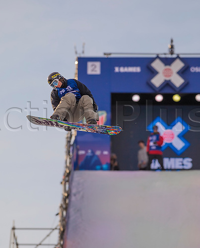 26.02.2016. Wyller Oslo Winter Park, Oslo, Norway. Red Bull X Games. Mens Snowboard Big Air  Round 1.  Tyler Nicholson of Canada competes in the men's Snowboard Big Air Elimination during the X Games Oslo 2016 at the Wyller Oslo winter park in Oslo, Norway.
