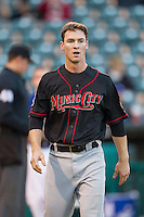 Nashville Sounds second baseman Joey Wendle (13) walks back to the dugout between innings in a Pacific Coast League game against the Oklahoma City Dodgers at Chickasaw Bricktown Ballpark on April 15, 2015 in Oklahoma City, Oklahoma. Oklahoma City won 6-5. (William Purnell/Four Seam Images)