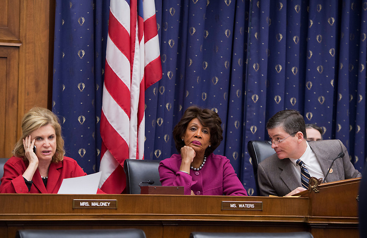 UNITED STATES - FEBRUARY 15:  House Financial Services Committee Chairman Jeb Hensarling, R-Texas, right, Rep. Maxine Waters, D-Calif., ranking member, and Rep. Carolyn Maloney, D-N.Y., attend a hearing in Rayburn Building to discuss an oversight plan for the 113th Congress. (Photo By Tom Williams/CQ Roll Call)