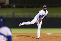 AFL West relief pitcher Demarcus Evans (30), of the Surprise Saguaros and Texas Rangers organization, follows through on his delivery during the Arizona Fall League Fall Stars game at Surprise Stadium on November 3, 2018 in Surprise, Arizona. The AFL West defeated the AFL East 7-6 . (Zachary Lucy/Four Seam Images)