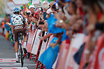 Romain Bardet (FRA) AG2R La Mondiale crosses the finish line at the end of Stage 19 of the 2017 La Vuelta, running 149.7km from Caso. Parque Natural de Redes to Gij&oacute;n, Spain. 8th September 2017.<br /> Picture: Unipublic/&copy;photogomezsport | Cyclefile<br /> <br /> <br /> All photos usage must carry mandatory copyright credit (&copy; Cyclefile | Unipublic/&copy;photogomezsport)
