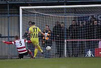 Jordan Williams of AFC Fylde scores his and AFC Fyldes second goal during Kingstonian vs AFC Fylde, Emirates FA Cup Football at King George's Field on 30th November 2019