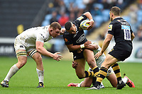Marcus Watson of Wasps is tackled in possession. Aviva Premiership match, between Wasps and Bath Rugby on October 1, 2017 at the Ricoh Arena in Coventry, England. Photo by: Patrick Khachfe / Onside Images