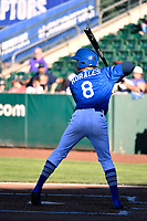 Brayan Morales (8) of the Ogden Raptors bats against the Orem Owlz in Pioneer League action at Lindquist Field on June 22, 2017 in Ogden, Utah. The Owlz defeated the Raptors 13-8.  (Stephen Smith/Four Seam Images)