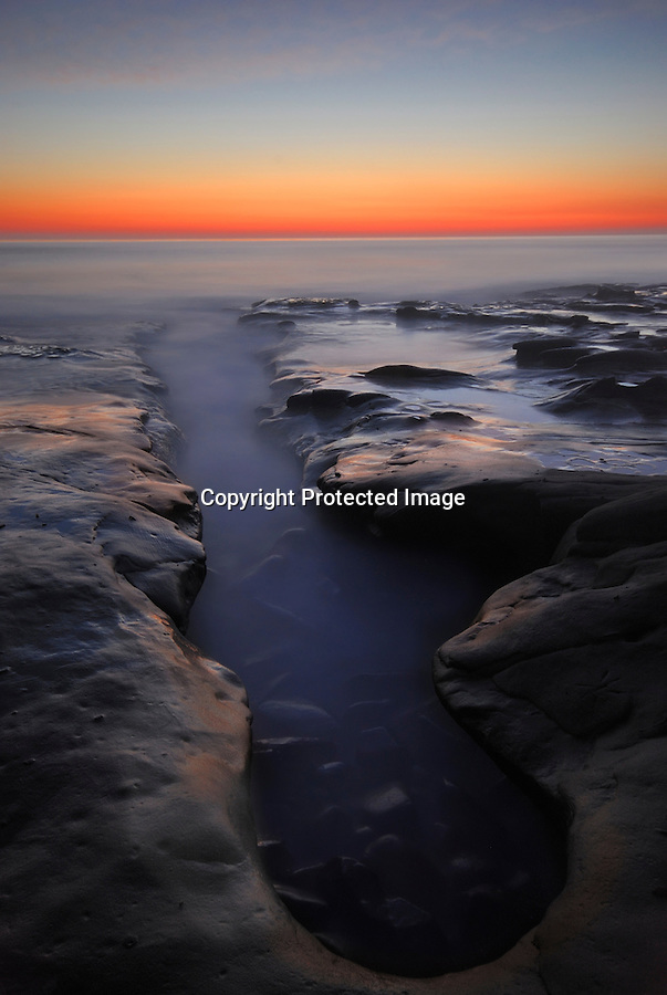 ocean, beach, pacific, sunset, california, san diego, la jolla, pothole, rock formation, scenic, landscape, beautiful, high tide, incoming tide, wave