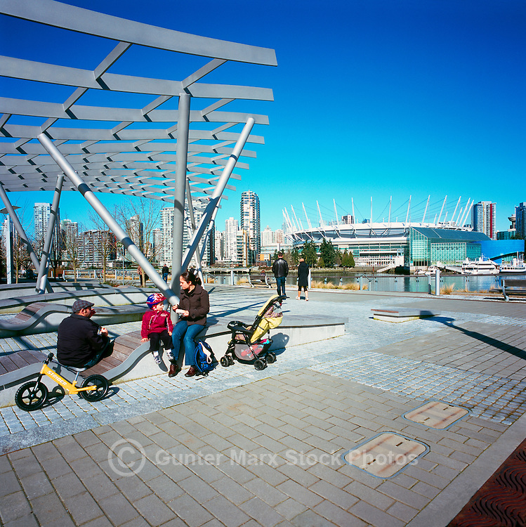 City of Vancouver Skyline, BC Place Stadium (New Retractable Roof completed in 2011), and Edgewater Casino, viewed from the Seawall at The Village on False Creek (aka Olympic Village), Vancouver, BC, British Columbia, Canada