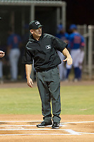Field umpire Glen Meyerhofer before an Arizona League game between the AZL Indians 2 and the AZL Cubs 2 at Sloan Park on August 2, 2018 in Mesa, Arizona. The AZL Indians 2 defeated the AZL Cubs 2 by a score of 9-8. (Zachary Lucy/Four Seam Images)