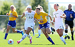 BROOKINGS, SD - AUGUST  22: Katie Schulz #13 from Green Bay battles for the ball with Diana Potterveld #7 from South Dakota State University in the first half of their game Sunday afternoon at Fischback Soccer Field in Brookings. (Photo by Dave Eggen/Inertia)