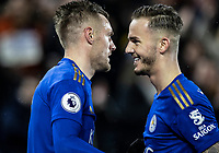 Leicester City's Jamie Vardy (left) celebrates scoring his side's third goal with team mate James Maddison <br /> <br /> Photographer Andrew Kearns/CameraSport<br /> <br /> The Premier League - Leicester City v Aston Villa - Monday 9th March 2020 - King Power Stadium - Leicester<br /> <br /> World Copyright © 2020 CameraSport. All rights reserved. 43 Linden Ave. Countesthorpe. Leicester. England. LE8 5PG - Tel: +44 (0) 116 277 4147 - admin@camerasport.com - www.camerasport.com