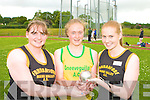 The top three in the women's hammer competition in the Junior and Master Athletic championships at An Riocht, Castleisland on Wednesday evening l-r: Karen Flynn Farranfore/Maine Valley 3rd, Mairead O'Neill Gneeveguilla 2nd and Maria Flynn Farranfore/Maine Valley 1st