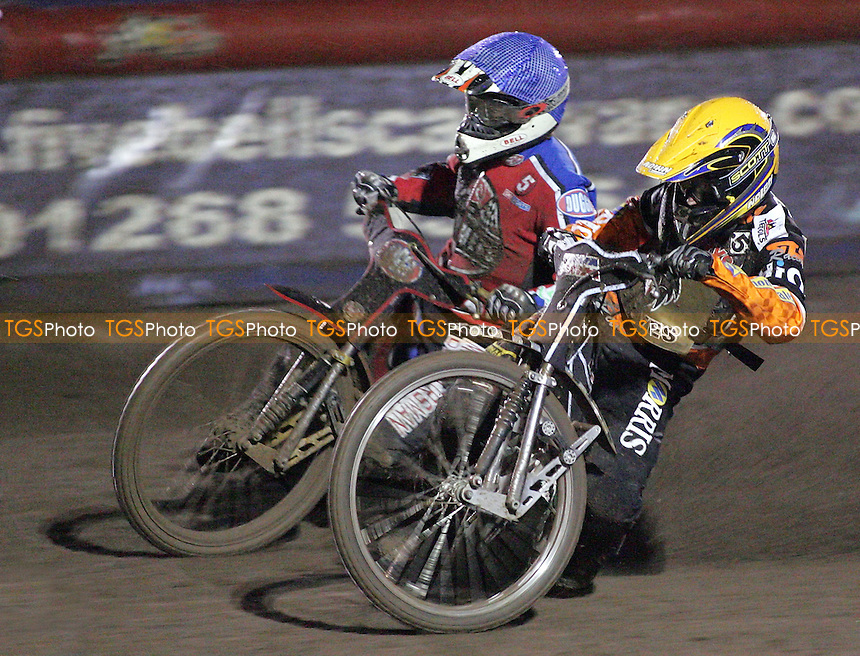 Heat 13 - Lindgren (yellow), Shields - Lakeside Hammers vs Wolverhampton Wolves - Elite League 'A' Fixture at Arena Essex - 11/05/07 - MANDATORY CREDIT: Gavin Ellis/TGSPHOTO - IMAGES USED WILL BE INVOICED AT STANDARD RATES..