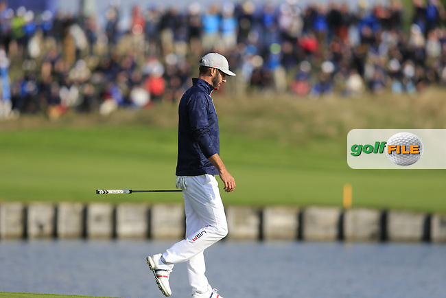 Dustin Johnson Team USA on the 15th green during Friday's Foursomes Matches at the 2018 Ryder Cup 2018, Le Golf National, Ile-de-France, France. 28/09/2018.<br /> Picture Eoin Clarke / Golffile.ie<br /> <br /> All photo usage must carry mandatory copyright credit (© Golffile | Eoin Clarke)