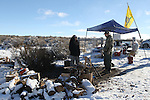 Activists pulls sentry duty at the Malheur National Wildlife Reserve on January 15, 2016 in Burns, Oregon.  Ammon Bundy and about 20 other protesters took over the refuge on Jan. 2 after a rally to support the imprisoned local ranchers Dwight Hammond Jr., and his son, Steven Hammond.  ©2016. Jim Bryant Photo. All Rights Reserved.