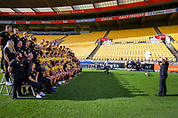 the Hurricanes team poses for a team photo before the Hurricanes captain's run at Westpac Stadium in Wellington, New Zealand on Friday, 14 June 2019. Photo: Dave Lintott / lintottphoto.co.nz