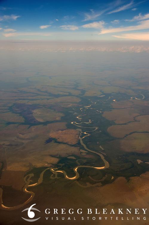 Aerial of the Orinoco/Llanos River Basin near Puerto Carreno - Colombia - South America