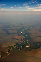 Aerial of the Orinoco/Llanos River Basin near Puerto Carreno - Colombia - South America