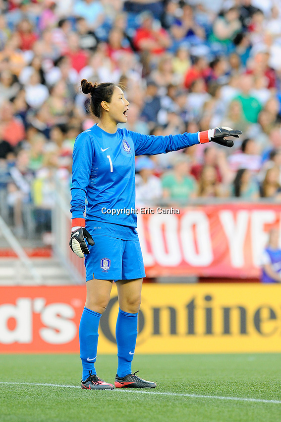 Korea Republic goalkeeper Kim Jungmi (1) in action during the International Friendly soccer match between the USA Women's National team and the Korea Republic Women's Team held at Gillette Stadium in Foxborough Massachusetts.   Eric Canha/CSM