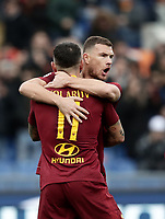 Football, Serie A: AS Roma - Torino, Olympic stadium, Rome, January 19, 2019. <br /> Roma&rsquo;s Aleksandar Kolarov (l) celebrates after scoring with his teammate Edin Dzeko (r) during the Italian Serie A football match between AS Roma and Torino at Olympic stadium in Rome, on January 19, 2019.<br /> UPDATE IMAGES PRESS/Isabella Bonotto